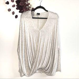 Sparkle & Fade Grey  Faux Wrap Sweater